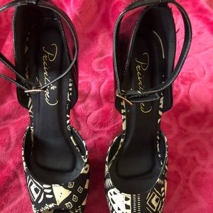Privileged Aztec black platform shoes